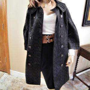 Vertigo Leather look Check Pattern Trench Coat M